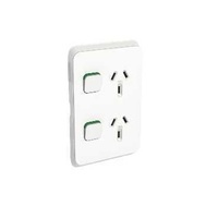 Clipsal Iconic - Twin Switch Socket Outlet, Vertical Mount, 250V, 10A, 3025V
