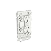 Clipsal Iconic - Twin Switch Socket Outlet Grid, Vertical Mount, 250V, 10A with Removable Extra Switch Aperture, 3025VXUAG