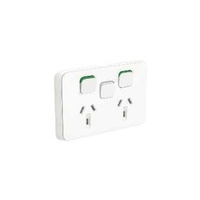 Clipsal Iconic - Twin Switch Socket Outlet, Horizontal Mount, 250V, 10A with Removable Extra Switch Aperture, 3025XUA