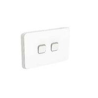 Clipsal Iconic - Flush Switch, 2 Gang, Horizontal Mount, 1-Way/2-Way, 250V, 10AX, 3042HA