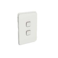 Clipsal Iconic - Flush Switch, 2 Gang, Veritcal Mount,1-Way/2-Way, 250V, 10AX, LED, 3042VAL