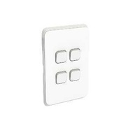 Clipsal Iconic - Flush Switch, 4 Gang, Vertical Mount, 1-Way/2-Way, 250V, 10AX, 3044VA