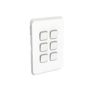 Clipsal Iconic - Flush Switch, 6 Gang, 1-Way/2-Way, Vertical Mount, 250V, 10AX, 3046VA