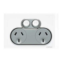 Twin Switch Socket Outlet, Saturn, 250V, 10A, 4025-PW, Pure White
