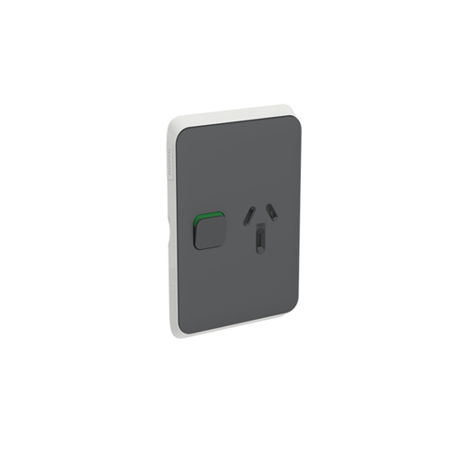 Clipsal Iconic - Skin Socket Outlet Cover, Vertical Mount for Single Switched Socket, 3015VC-AN, Anthracite