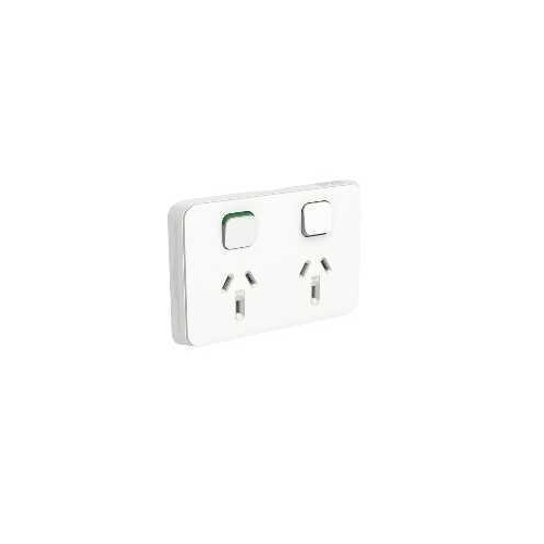 Clipsal Iconic - Twin Switch Socket Outlet, Horizontal Mount, 250V, 10A, 3025-VW, Vivid White