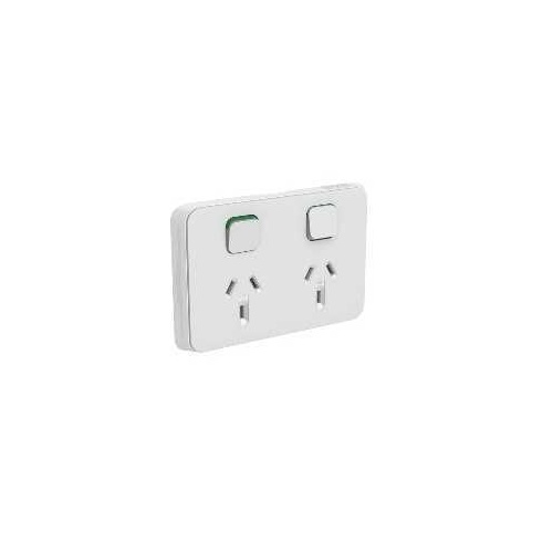 Clipsal Iconic - Skin Socket Outlet Cover, Horizontal Mount for Twin Switched Socket, 3025C-CY, Cool Grey