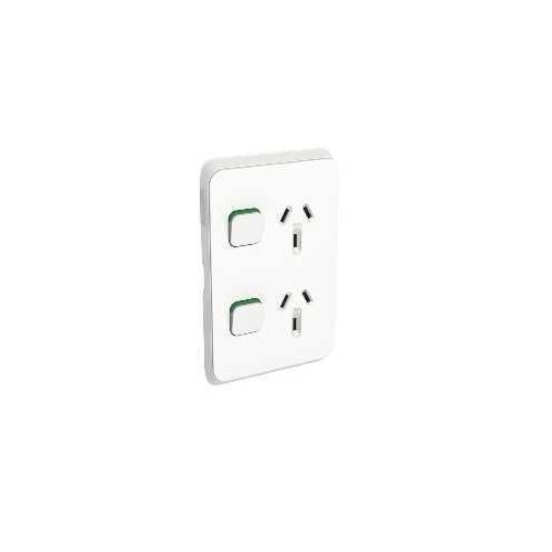 Clipsal Iconic - Twin Switch Socket Outlet, Vertical Mount, 250V, 10A, 3025V-VW, Vivid White
