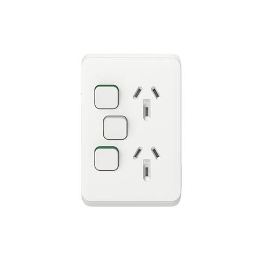 Clipsal Iconic - Twin Switch Socket Outlet, Vertical Mount, 250V, 10A with Removable Extra Switch, 3025VXA-VW, Vivid White