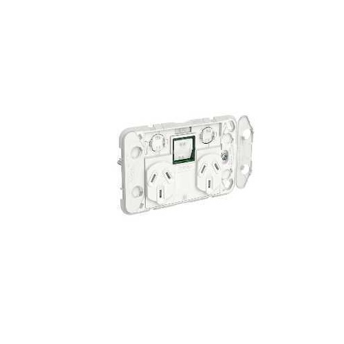 Clipsal Iconic - Twin Switch Socket Outlet Grid, Horizontal Mount, 250V, 10A with Removable Extra Switch, 3025XAG