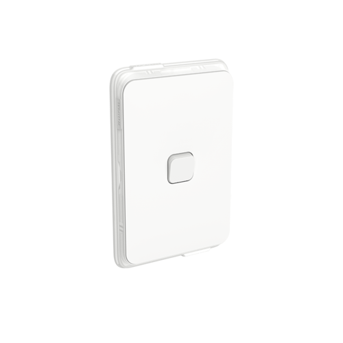 Clipsal Iconic - Flush Switch, Vertical Mount, Single Gang, 1-Way/2-Way, 250V, 10AX, IP44, 3041V44-VW, Vivid White