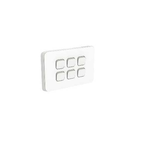 Clipsal Iconic - Flush Switch, 6 Gang, 1-Way/2-Way, Horizontal Mount, 250V, 10AX, 3046HA-VW, Vivid White
