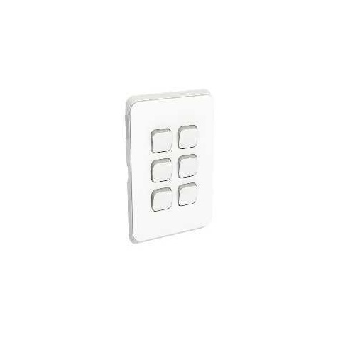 Clipsal Iconic - Flush Switch, 6 Gang, 1-Way/2-Way, Vertical Mount, 250V, 10AX, 3046VA-VW, Vivid White