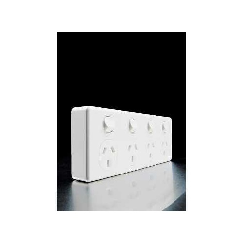 Quad Switch Socket Outlet, Classic, 250V, 10A, 2 Pole, C2015D4-WE, White Electric