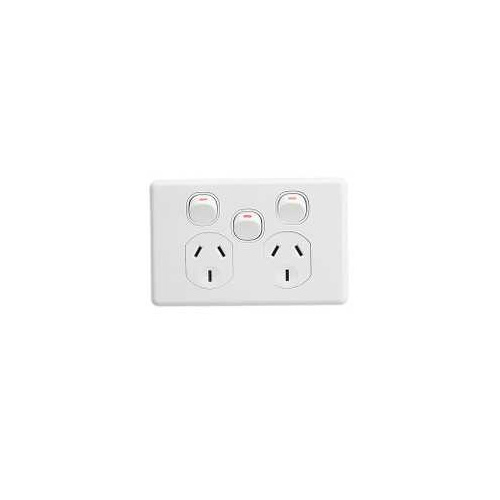Twin Switch Socket Outlet, Classic, 250V, 10A, Removable Extra Switch, C2025XA-WE, White Electric